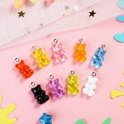 10 Candy Bear Charms Gummy Pendants Assorted Lot Findings Cu