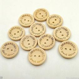 """100 PCS Wooden """"Handmade & Love"""" Buttons Crafting Sewing Clo"""