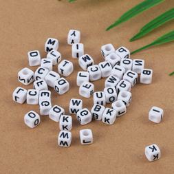 100PCs Mixed Cubic Acrylic Letter Alphabet Beads For Women M