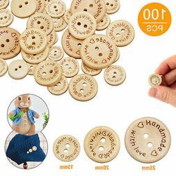 100pcs Wood Love Heart Handmade 2 Holes Wooden Buttons Sewin