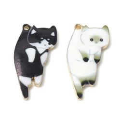 10pcs enamel cat alloy charms pendants diy