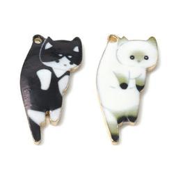 10Pcs Enamel Cat Alloy Charms Pendants DIY Necklace Jewelry