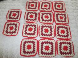 "14 Unused - 8"" Square CROCHETED Red & White GRANNY SQUARES f"