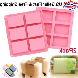 2 pack silicone soap molds 6 cavities