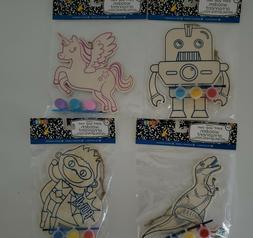 2 Pk DIY Kids Paint Your Own Wooden Ornament Ages 3+ Robot U