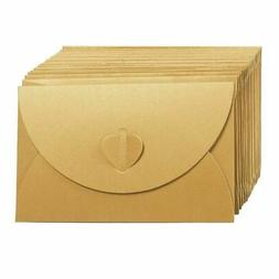 24 Pack Golden Craft Photo Gift Envelopes w/Heart Clasps Whi