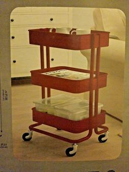 Urban Shop 3 Tier Rolling Cart Red Kitchen Craft Office Stor
