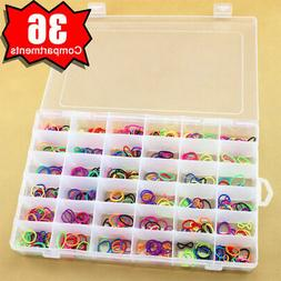 36 Compartments Plastic Box Case Jewelry Bead Storage Contai