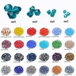 3mm 4mm 6mm 8mm Bicone Faceted Crystal Glass Loose Crafts Be