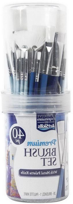 40 Piece Art Paint Brushes Set and Storage Container Synthet