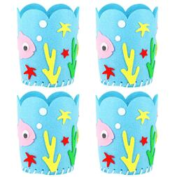 4pcs Creative Cloth Pen Container Non-Woven Fabric Toy Handm