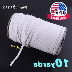 "5-10yds 6mm 1/4"" White Satin Elastic Cord Spandex Band Sewin"