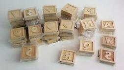 50 Darice Craftwood Wood Block Craft Alphabet Letters Number