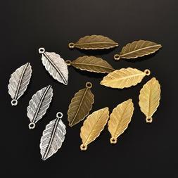 50pcs alloy leaf pendants charms beads diy