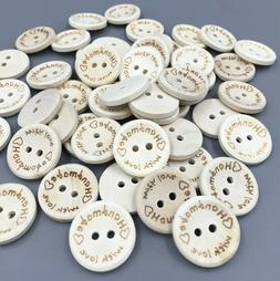 50pcs Beige Wooden Buttons Sewing handmade with love Scrapbo