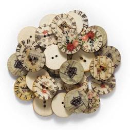 50pcs Clock theme Wood Buttons Sewing Scrapbook Clothing Cra