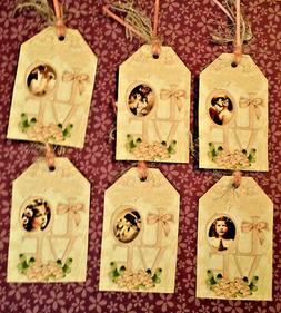 6 Vintage Shabby Chic~Love~Gift Hang Tags~Scrapbooking~Card