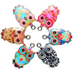 6pc Mixed Owl Enamel Charms For DIY Necklace Jewelry Making