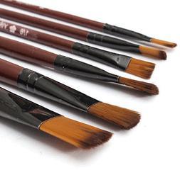 6pcs/1 Paint Brushes Set Nylon Brush for Oil Watercolor Arti