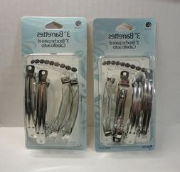 8 x Pack 3'' Hair Clip Barrettes Silver Metal Clamp Women Gi