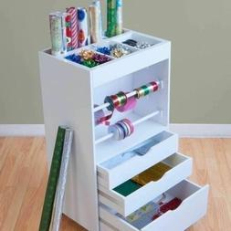 NEW White Craft Storage Cart Rolling Organizer Drawer Wrappi