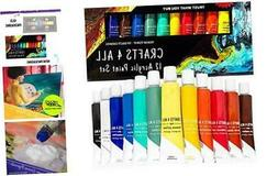 Acrylic Paint Set 12 Colors by Crafts 4 ALL Perfect for Canv