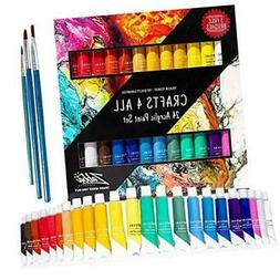 Acrylic Paint Set 24 Colors by Crafts 4 ALL Perfect for Canv