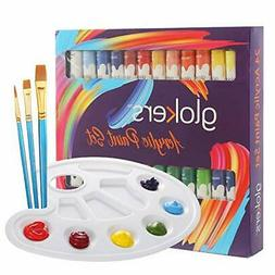 Acrylic Paint Set 24 Rich Colors Non Toxic With 3 Paint Brus