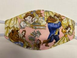 Adult Disney Beauty and the Beast cotton Face Mask Homemade