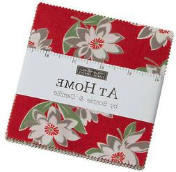 """At Home Red Moda Charm Pack 42 100% Cotton 5"""" Precut Fabric"""