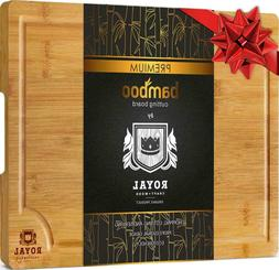 Bamboo Cutting Board w/Juice Groove and Handles - Butcher Bl