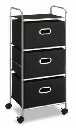 Black 3 Tier Shelf Fabric Drawers Rolling Storage Organizati