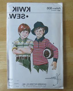 BOYS GOLF SHIRT KWIK SEW KNIT Sewing Pattern 806 CHILD AGES