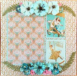 Handmade Carousel Pin-Up Girls & Flowers 12x12 Premade Scrap