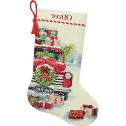Counted Cross Stitch Kit SANTA'S TRUCK Stocking Dimensions