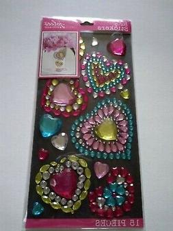 Crafts Stickers Jolee's Bling Gems Hearts Large Small Blue P