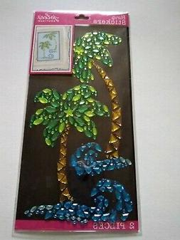 Crafts Stickers Jolee's Bling Gems Palm Trees Water Waves Gr
