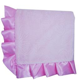 Crown Crafts - Floral Embossed  Baby Blanket -Double  sided