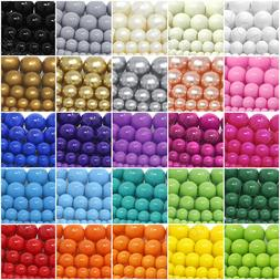 Czech Opaque Glass Beads Round Pearl Coated 4mm 6mm 8mm 10mm