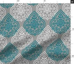 Damask Home Decor Lace Indian Ikat Gray Pewter Fabric Printe