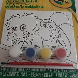 Crayola Dinosaur Kids Paint Your Own Canvas Brush and 4 Pain