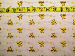 DISNEY POOH BEAR PINK PRINT 2 WAY STRETCH SATIN POLYESTER FA
