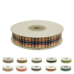 "Distinct Plaid Ribbon For Wedding Party Decoration 5/8"" x 25"