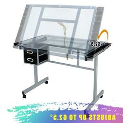 Drafting Table Craft Station with Glass Top Drawing Desk Art