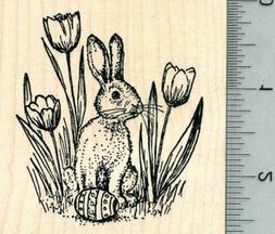 Easter Bunny Rubber Stamp, with Egg, and Tulips K32022 WM