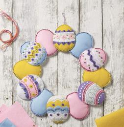 "Bucilla 'Easter Egg Wreath' 15"" x 15"" Felt Applique  Stitche"