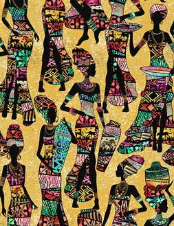 Fabric African Women Kente Dresses Sand Cotton 1/4 yard Time