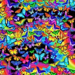 Fabric Butterflies Neon Rainbow Timeless Treasures Cotton 1/
