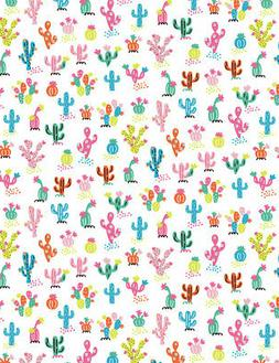 Fabric Cactus Mini Whimsical Timeless Treasures White Cotton