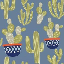 Fabric Cactus Potted Desert Plants Llama Coordinate Blue  Co